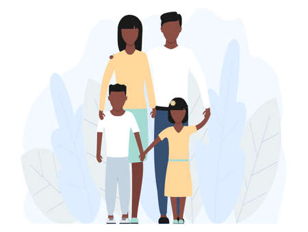 African happy family standing together vector stock illustration isolated on white background. Mother, father and children characters in group.  イラスト・ベクター素材