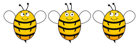 Cute bee set with emoji vector illustration isolated on white