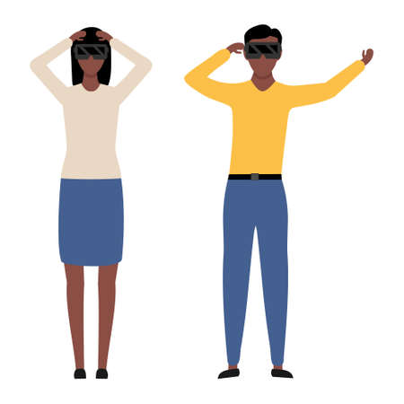 African man and woman wear virtual reality digital glasses vector illustration isolated on white background