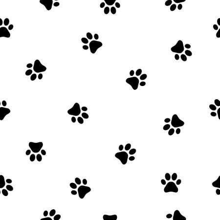Seamless pattern with heart sign animal footprints. Dog paw vector illustration background.