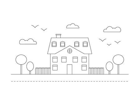 Beautiful line building with trees, clouds road and birds. City landscape line vector illustration isolated on white.