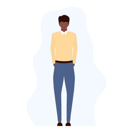 Disappointed sad young african man standing alone. Unsuccessful american businessman, manager or worker in flat style vector illustration isolated on white.