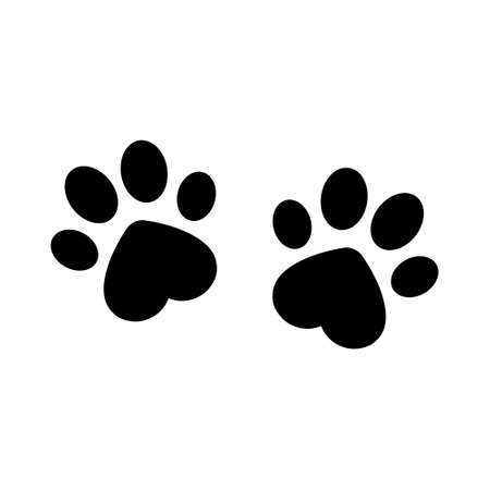Animal footprints with heart shape vector. Dog paw trace icon illustration isolated on white  イラスト・ベクター素材