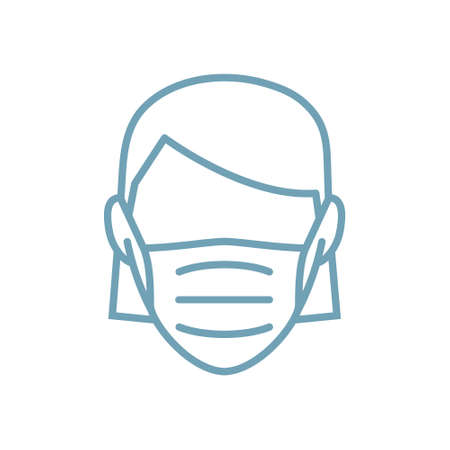 Woman face mask line icon vector illustration isolated. Protection medical wear from virus, air pollution, flu, dust illustration isolated on white.  イラスト・ベクター素材