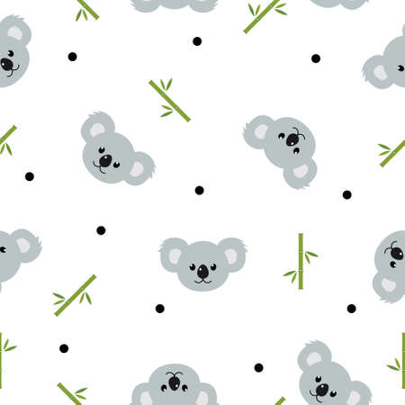 Seamless pattern cute koalas and bamboo leaves background. Cartoon wild animal design vector illustration isolated on white background  イラスト・ベクター素材