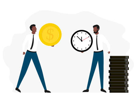 Exchange time with money. Business concept vector illustration isolated on white background. African worker give his money and receive time.