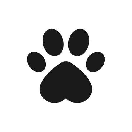 Animal footprint with heart shape. Dog paw vector illustration.