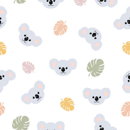 Koala pattern seamless vector background. Cute koala print with monstera leaves illustration isolated on white.  イラスト・ベクター素材