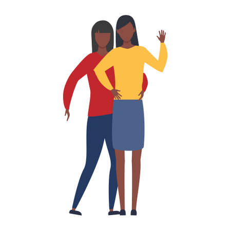 Lesbian LGBT vector illustration. Two young multicultural girls in love. Romantic lesbian relationships. African, american and european people with black skin.