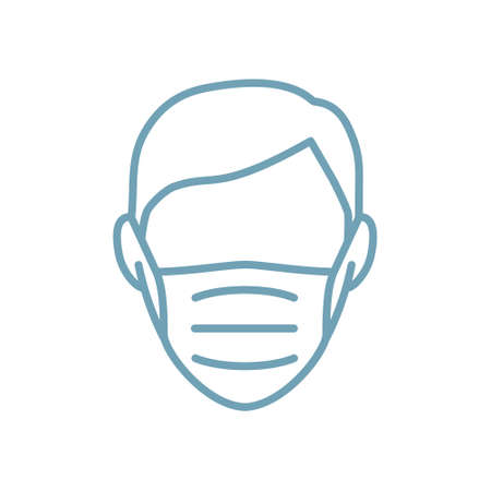 Man face mask line icon vector illustration isolated. Protection medical wear from virus, air pollution, flu, dust illustration isolated on white.