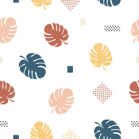 Seamless pattern of leaves monstera background in pastel colors vector illustration