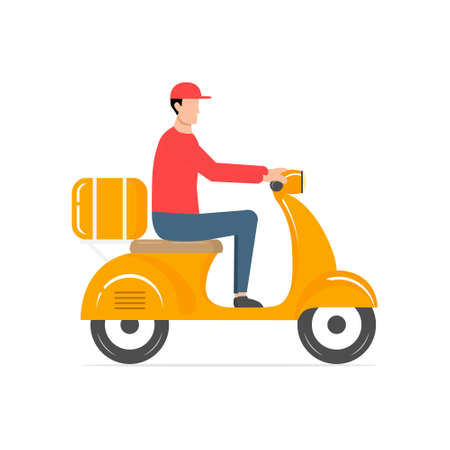 Delivery cute man riding scooter. Fast food delivery vector illustration isolated on white. Courier in red uniform delivers parcel by motorbike. Cartoon food service.