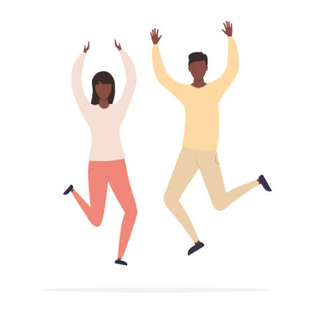 Happy jumping young african man and woman with raised hands celebrating victory and success. Vector illustration of american family isolated on white background.  イラスト・ベクター素材