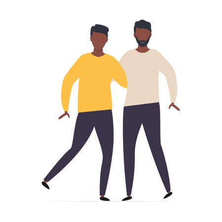Homosexual LGBT gays. Two young multicultural boys holding hands together in love. Homosexual relationship vector illustration isolated on white. African, american and european people with black skin.