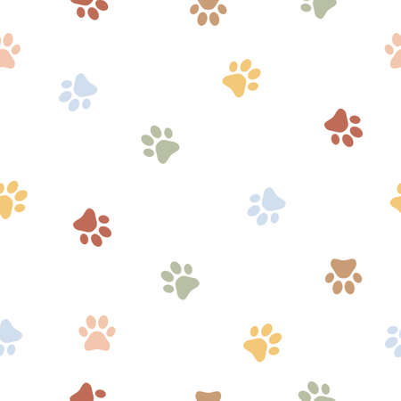 Colorful dog paw seamless pattern background. Animal footprint vector illustration on white.  イラスト・ベクター素材