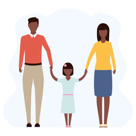 Young african family standing together vector stock illustration isolated on white background. American mother, father and daughter