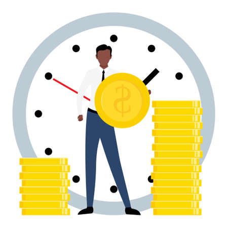 Exchange time with money. Business concept vector illustration isolated on white background. African worker give his time and receive payment.  イラスト・ベクター素材
