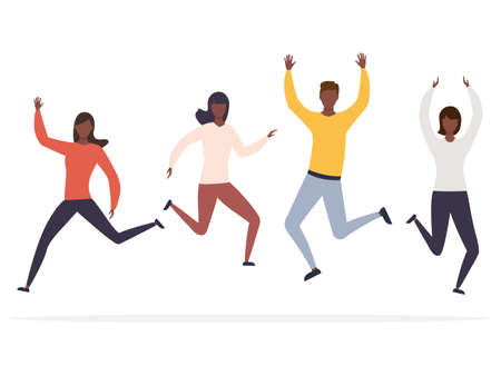 Group of happy jumping african man and women with raised hands vector illustration isolated on white background. Young american coworkers team celebrating victory and success.