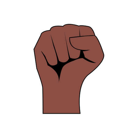 African or american arm gesture vector. Black lives matter. Help fighting racism poster. Tolerance symbol. Anti discrimination vector illustration isolated on white. Protest black skin hand gesture.