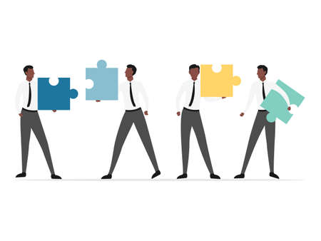 African people connecting puzzle. Business concept of teamwork, cooperation, partnership.