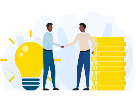 Handshake of two african business men. Agreement american partnership concept. Businessman pay money for idea. Vector illustration isolated on white.
