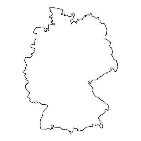 Germany map line contour vector illustration isolated on white.