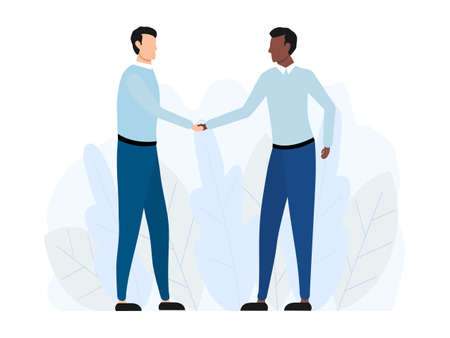 Handshake of two multicultural business men. Agreement american partnership concept. Vector illustration isolated on white.  イラスト・ベクター素材