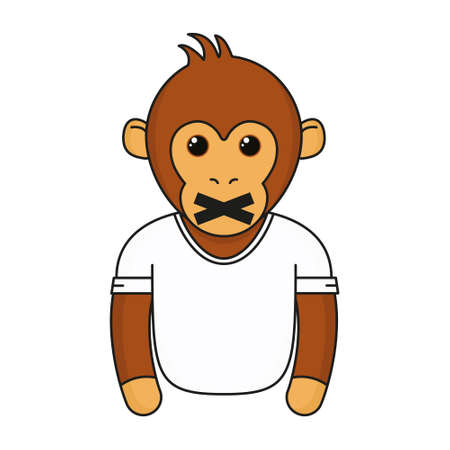 Cute monkey with closed mouth. Cartoon fashionable monkey wear in white t-shirt. Animal emoji vector illustration isolated on white background.