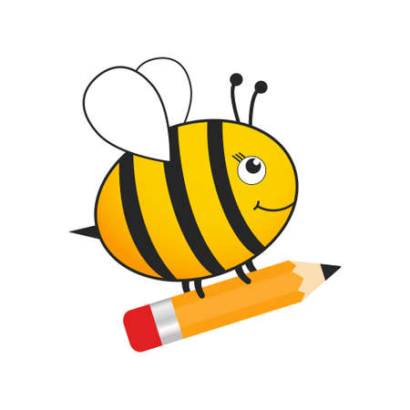 Cute bee back to school. Flying cartoon bee holding pencil. Vector character education illustration isolated on white.