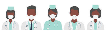 Doctors characters wear in white medical face mask. Set of american, african and european doctors with black skin. Group of multicultural medical team workers. Coronavirus vector illustration isolated