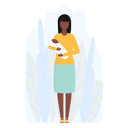 Mother with little child vector isolated on white. Single african woman holding her child on hand. Young american girl alone with a baby illustration in flat style.  イラスト・ベクター素材
