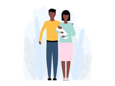 Young african family with small child standing together vector stock illustration isolated on white background. American mother, father and little baby.