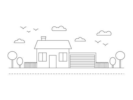 Beautiful line building with trees, clouds road, birds and garage. City landscape line vector illustration isolated on white.  イラスト・ベクター素材