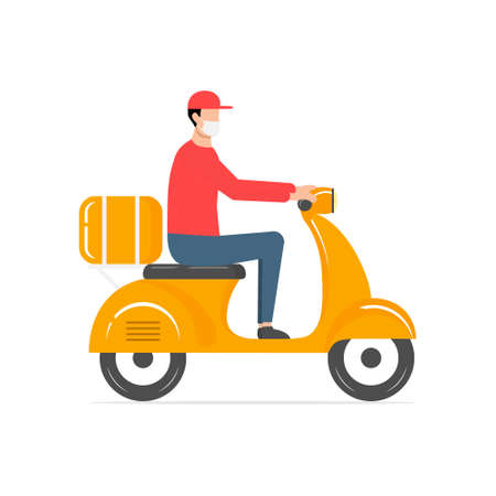 Cute delivery man in a medical mask riding scooter. Fast food delivery vector illustration isolated on white. Courier in red uniform delivers parcel by motorbike. Cartoon food service. Non contact.