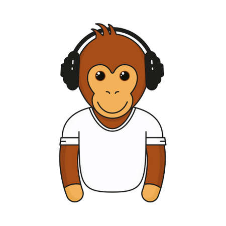 Cute monkey with headphones. Cartoon fashionable monkey with earphones wear in white shirt. Animal emoji vector illustration isolated on white background.