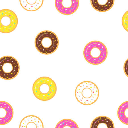Seamless pattern sweet donuts white background. Colorful tasty donuts collection vector illustration isolated