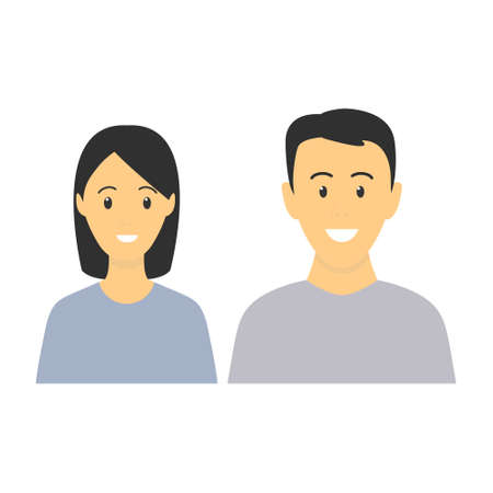 Happy young man and woman standing together. Lovely mature couple. Family flat illustration. Sister and brother vector isolated on white background. Romantic concept. Wife and husband smiling.  イラスト・ベクター素材