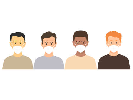 Multicultural men standing together. People wearing face masks, air pollution, contaminated air, world pollution. Modern flat vector illustration. Coronavirus concept isolated on white  イラスト・ベクター素材