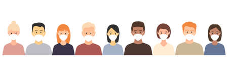 Group of multiethnic men and women wearing medical masks. Disease, flu, contaminated air, world pollution, pandemic concept set. Vector illustration in a flat style isolated on white  イラスト・ベクター素材