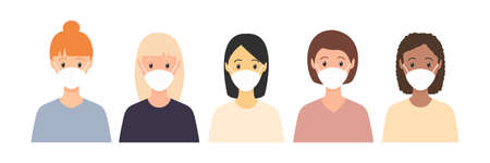 Multicultural women standing together. People wearing face masks, air pollution, contaminated air, world pollution. Modern flat vector illustration. Coronavirus concept isolated on white.