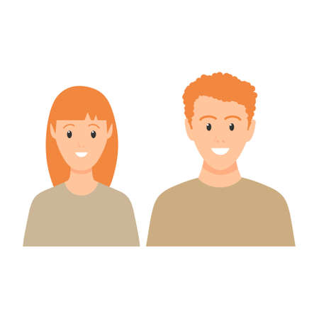 Happy young man and woman with red hair standing together. Lovely mature couple. Family flat illustration. Sister and brother vector isolated on white background. Romantic concept. Wife and husband.