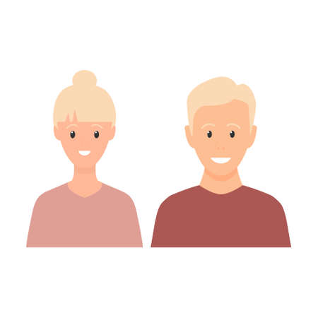 Happy young man and woman standing together. Lovely mature couple. Blond family flat illustration. Sister and brother vector isolated on white background. Romantic concept. Wife and husband smiling.