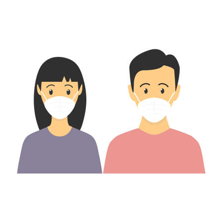 Asian man and woman standing together. People wearing face masks, contaminated air, world pollution. Modern flat family vector illustration. Coronavirus concept isolated on white background  イラスト・ベクター素材