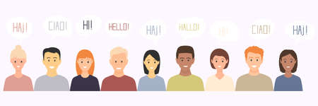 Multiethnic European young men and women characters saying hello in different languages. Set of multicultural people with speech bubbles talking, discuss and make decisions.