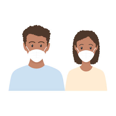 African man and woman standing together. People wearing face masks, contaminated air, world pollution. Modern flat family vector illustration. Coronavirus concept isolated on white background  イラスト・ベクター素材