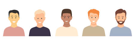 Multicultural happy young men. People various races. Male caucasian, european, african, asian people vector isolated on white. Set of portraits of multiethnic people. Set of avatars of businessmen.  イラスト・ベクター素材
