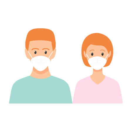 Man and woman with red hair standing together. People wearing face masks, contaminated air, world pollution. Modern flat family vector illustration. Coronavirus concept isolated on white background