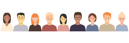 Diverse multicultural group of people standing together (europian, asian, american). Human social diversity crowd vector illustration. Happy young students.