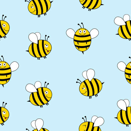 Seamless Pattern with flying bees. Vector Cartoon black and yellow bees isolated on background. Cartoon doodle cute bees seamless blue pattern  イラスト・ベクター素材