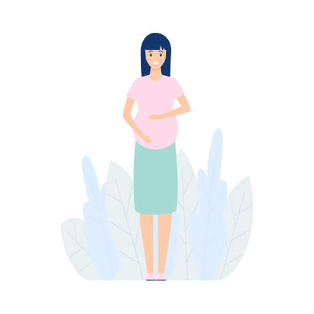Happy pregnant woman standing alone. Cute pregnant girl caressing her belly. Vector modern illustration isolated on white